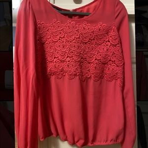 Bebe Coral floral lace blouse